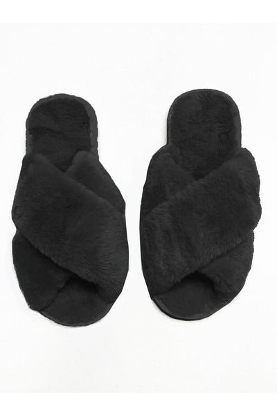 Fluffy Slippers | Black