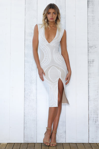 PACHA LACE DRESS - WHITE - Fashion Flash Boutique