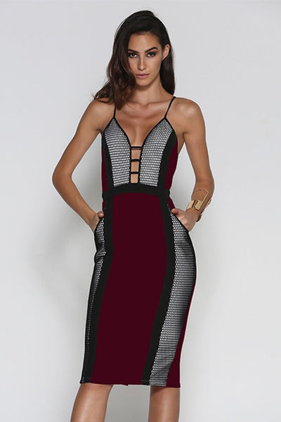 HONEYCOMB MIDI DRESS - WINE - Fashion Flash Boutique