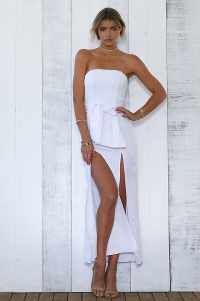 ROLLER DRESS - WHITE - Fashion Flash Boutique
