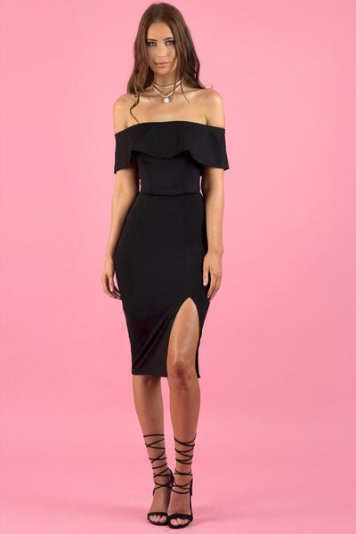 LAZARA DRESS - BLACK - Fashion Flash Boutique