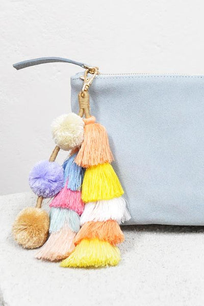 LIVELY TASSEL CLUTCH - BABY BLUE - Fashion Flash Boutique