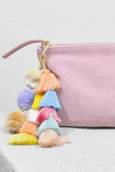 LIVELY TASSEL CLUTCH - BABY PINK - Fashion Flash Boutique