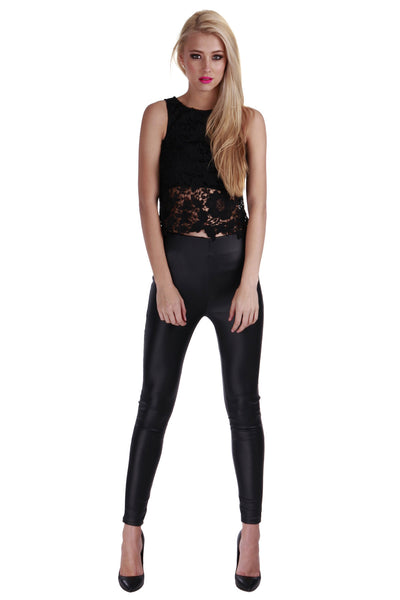 Lucy Lace Top Black - Fashion Flash Boutique