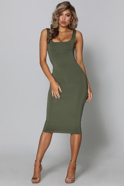 MISHA DRESS - KHAKI - Fashion Flash Boutique