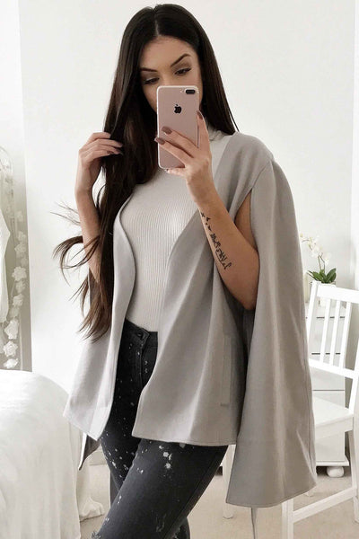 MUSE CAPE - GREY - Fashion Flash Boutique