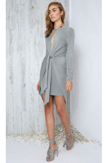MOTION L'SLEEVE DRESS - GREY MARLE - Fashion Flash Boutique