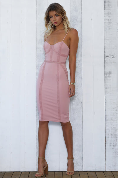 NATASHA DRESS - DUSTY PINK - Fashion Flash Boutique