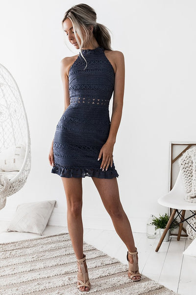 RIVIERA DRESS - STEEL BLUE - Fashion Flash Boutique