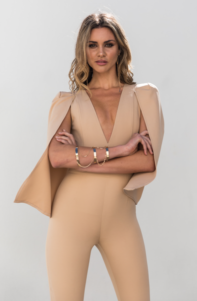 Cherish Jumpsuit - Beige - Fashion Flash Boutique