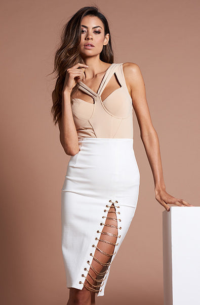 KENZA CHAIN SKIRT - WHITE - Fashion Flash Boutique