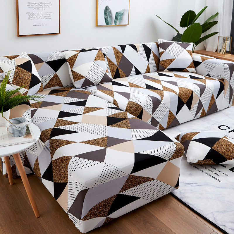 Housse canapé d'angle <br> Brown Geometric