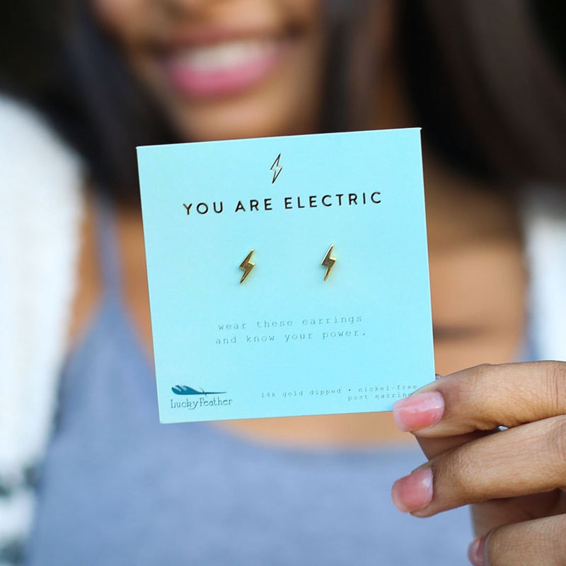 "Lucky Feather New Moon Earrings- ""You Are Electric"""