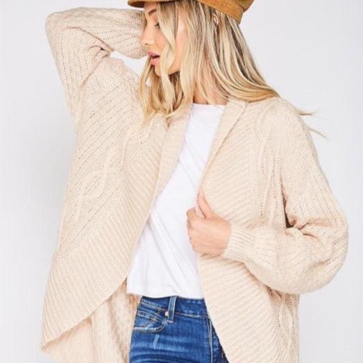 Cable Knit Open Front Sweater Cardigan