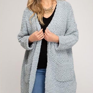 Open Front Knit Cardigan Sweater