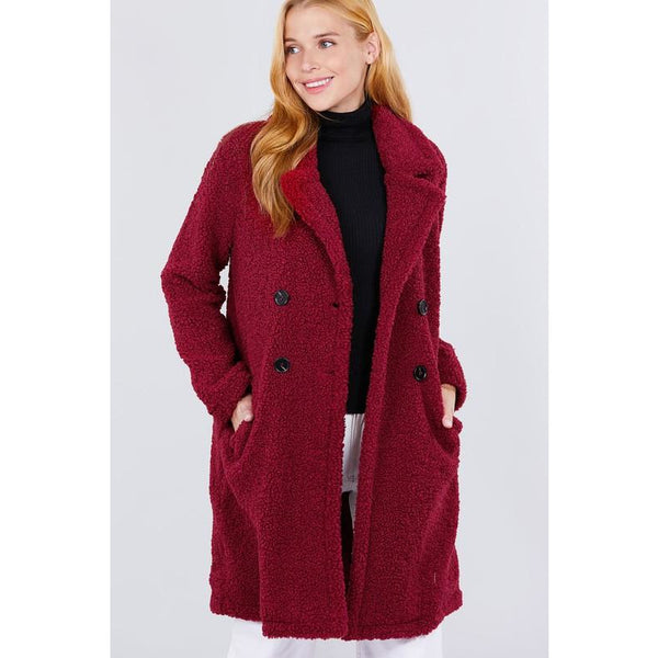Long Sleeve Double Breasted Faux Fur Teddy Coat