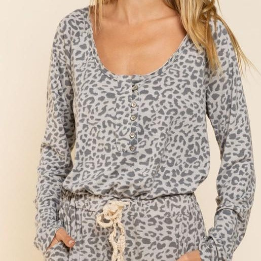 Leopard Scoop Neck Top