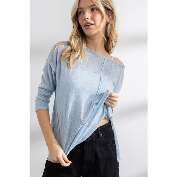 Melly Raw Edge Detail Top