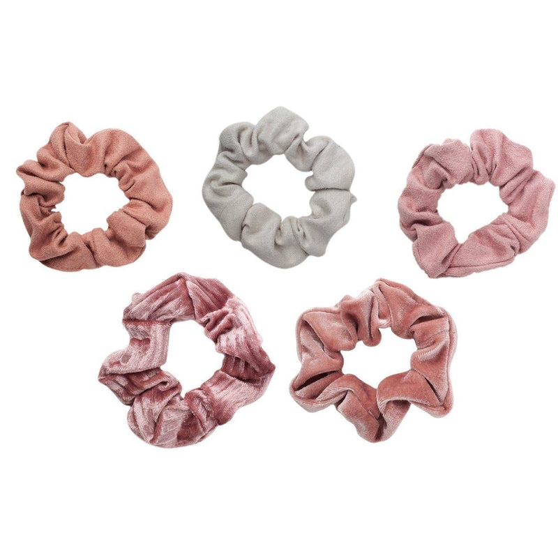 KITSCH - Velvet Scrunchies - Blush and Mauve