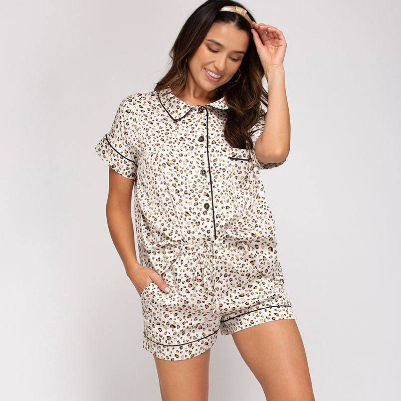 Satin Leopard Pajama Set