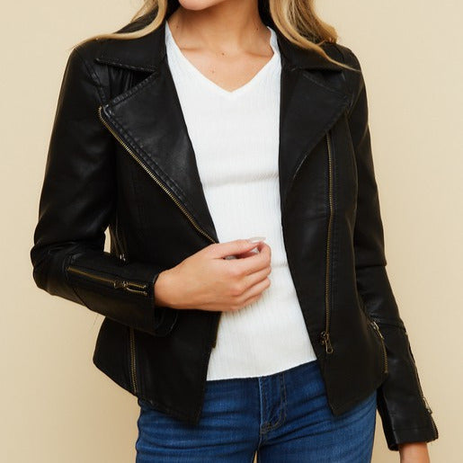 Gold Zipper Detail Faux Leather Jacket