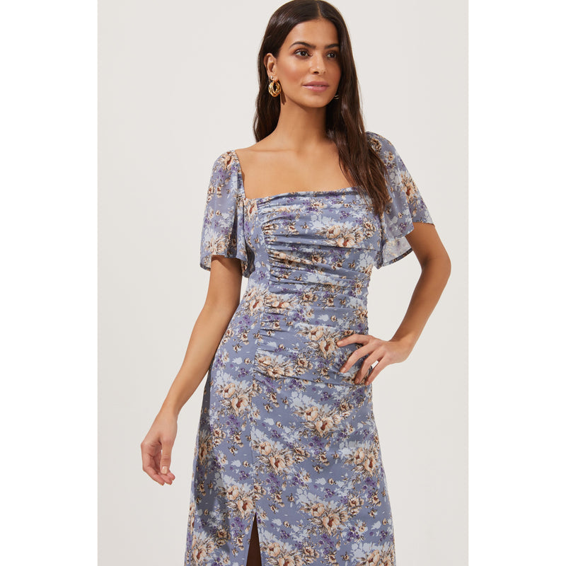 Flutter Sleeve Ruched Dress