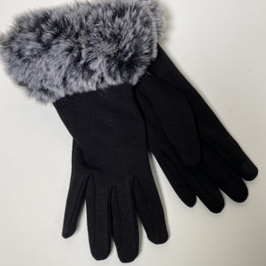 Speckled Faux Fur Cuff Gloves
