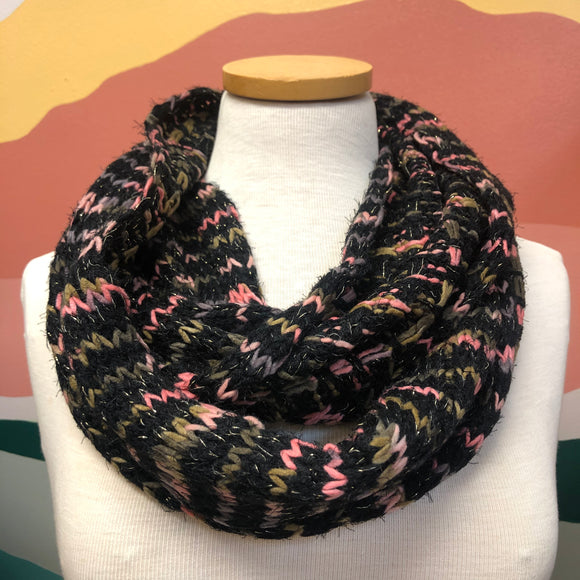 Black Mixed Yarn Infinity Scarf
