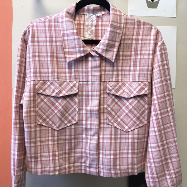 Very Berry Lightweight Plaid Jacket