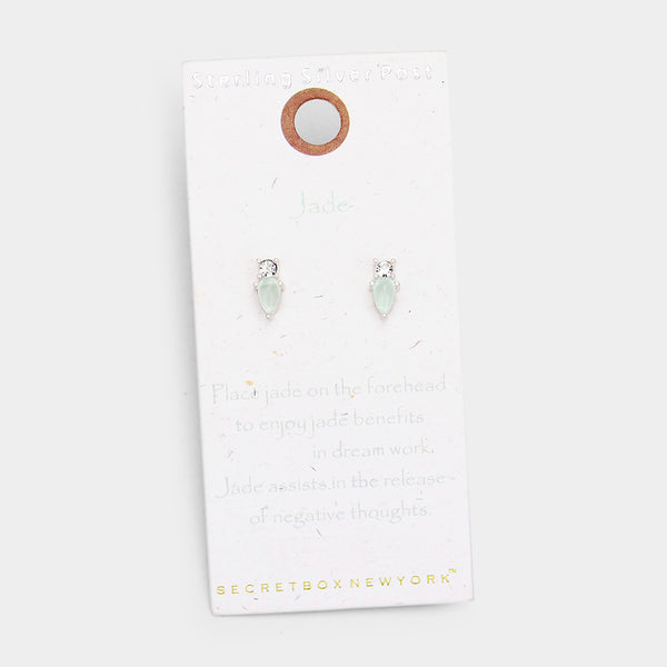 Jade Worn Sterling Silver Post Stud Earrings