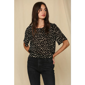 Crinkle Polka Dot Crop Top