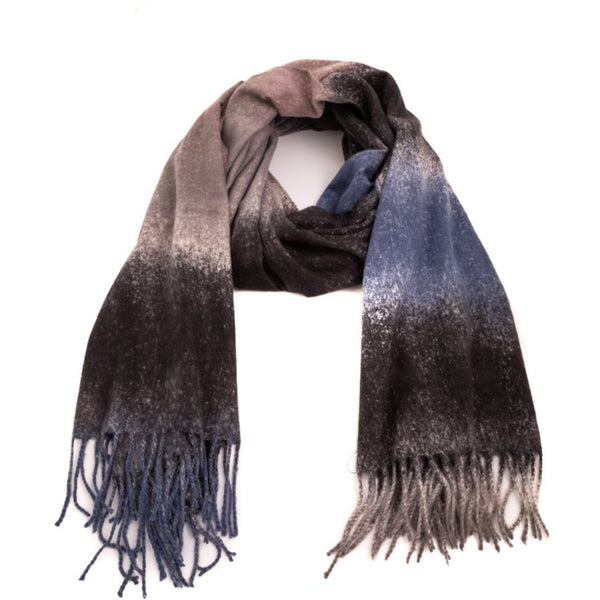 Dye Striped Fringe Oblong Scarf