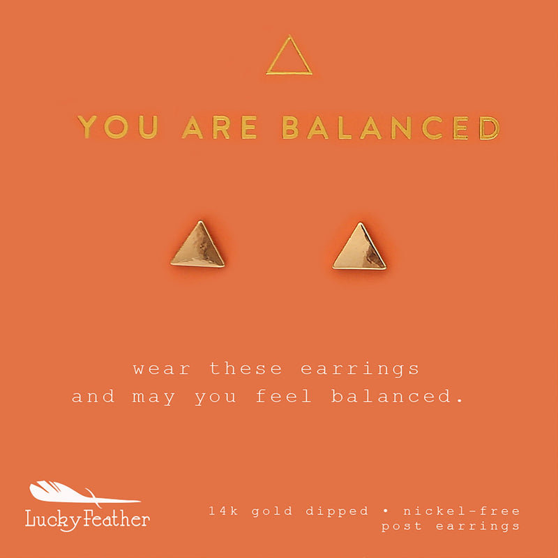 "Lucky Feather New Moon Earrings- ""You Are Balanced"""