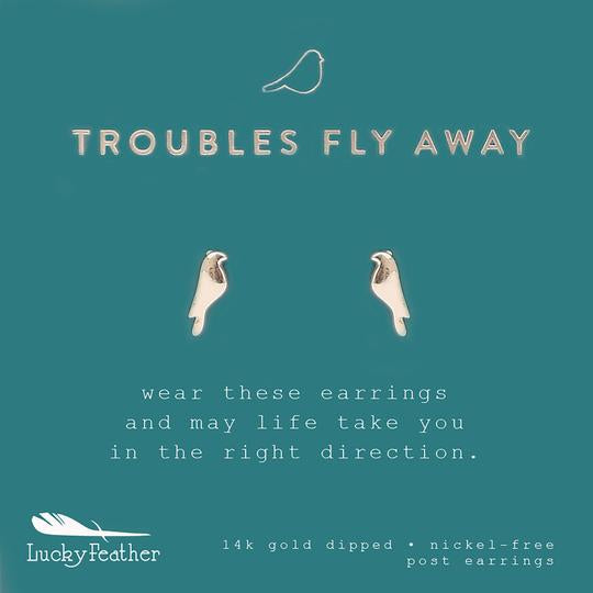 "Lucy Feather New Moon Earrings- ""Troubles Fly Away"""