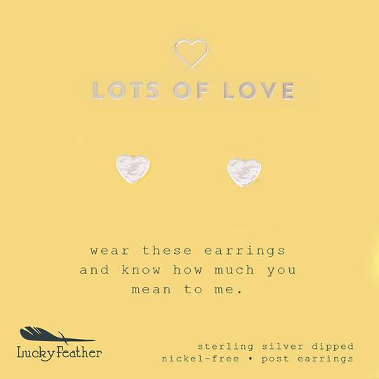 "Lucky Feather New Moon Earrings- ""Lots of Love"""
