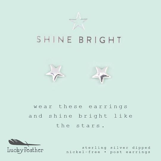 "Lucky Feather New Moon Earrings- ""Shine Bright"""