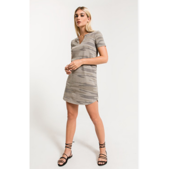 Camo Split Neck T-shirt Dress