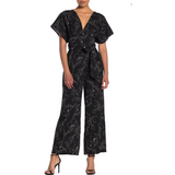 Black and White Delicate Floral Pattern Jumpsuit