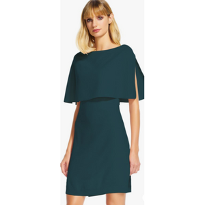 Popover Cape Crepe Shift Dress
