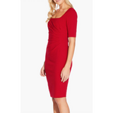 Knit Crepe Scoop Neck Sheath