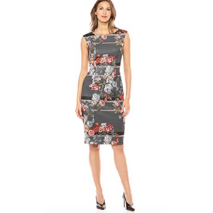 Sleeveless Floral Print Scuba Sheath