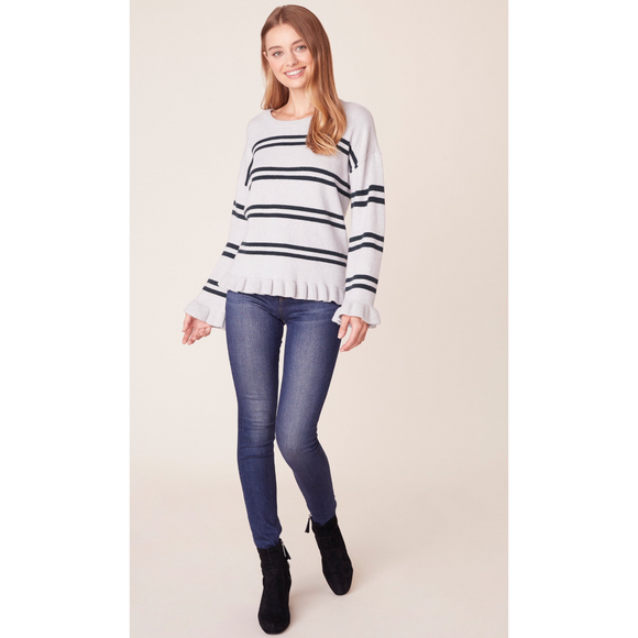 JACK Striped Out Ruffled Sweater
