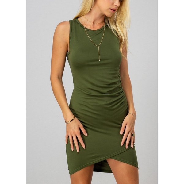 Sleeveless Ruched Bodycon Mini Dress