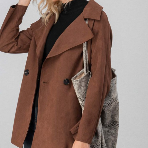 Faux Suede Jacket w/ Belt