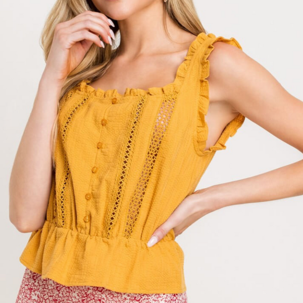 Crochet Lace Button Top