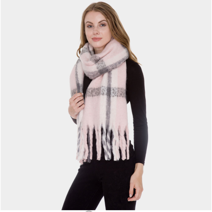 Pink Plaid Winter Scarf