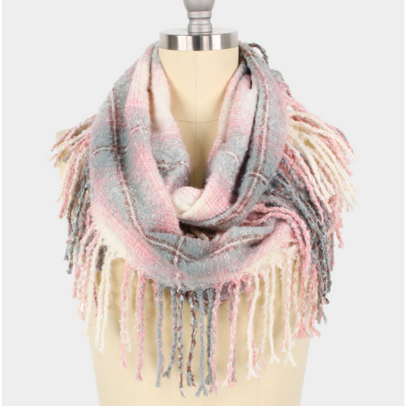 Pink Check Fringe Infinity Scarf