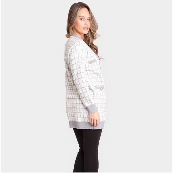 Tweed and Lurex Pocket Cardigan
