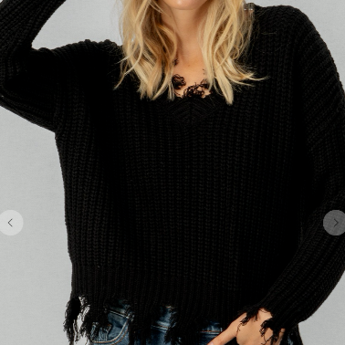 Frayed Crochet Knit Sweater