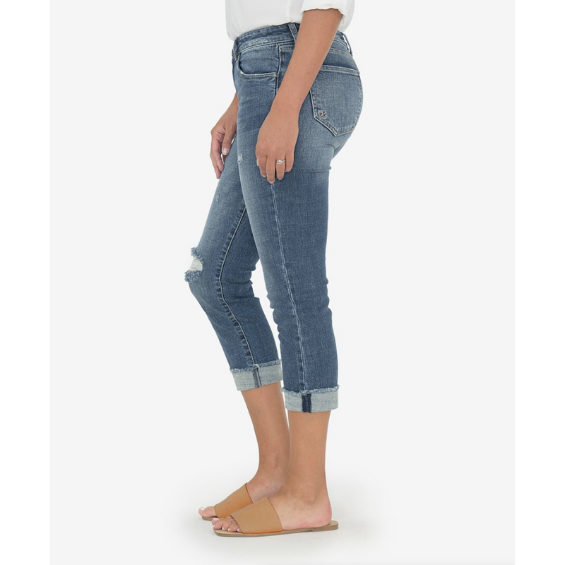 Amy Cropped Straight Leg w/ Frayed Roll Up Hem (Bubbly Wash)